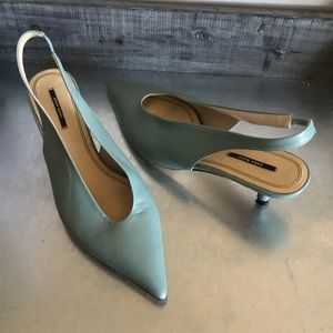 Zara basic collection mint green teal slingback